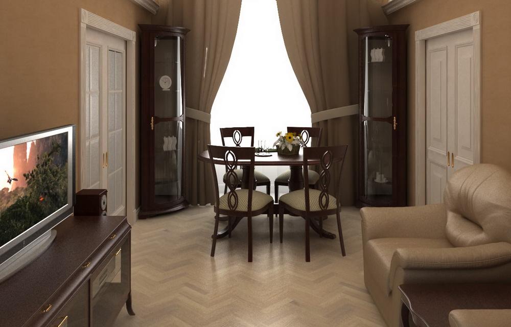 3Д визуализация интерьера гостиной
