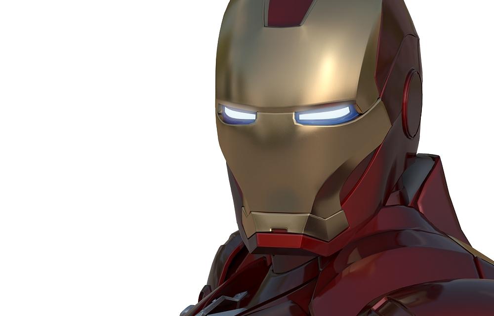 лицо 3D модели железного человека