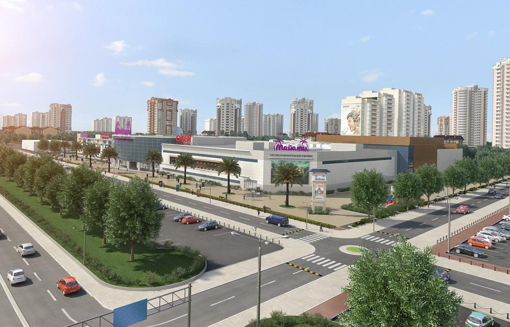 3d визуализация экстерьера торгового центра