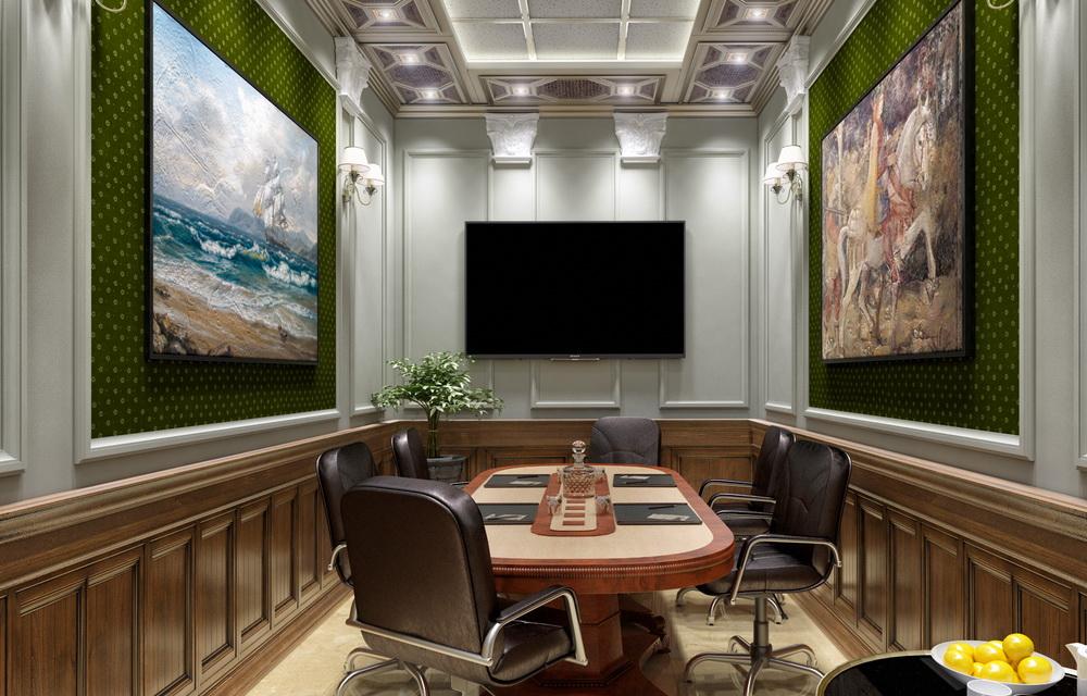 3d визуализация переговорной комнаты