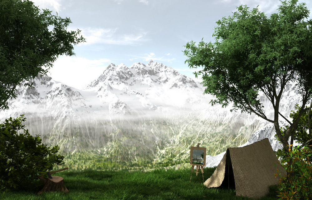 Фотореалистичный горный ландшафт