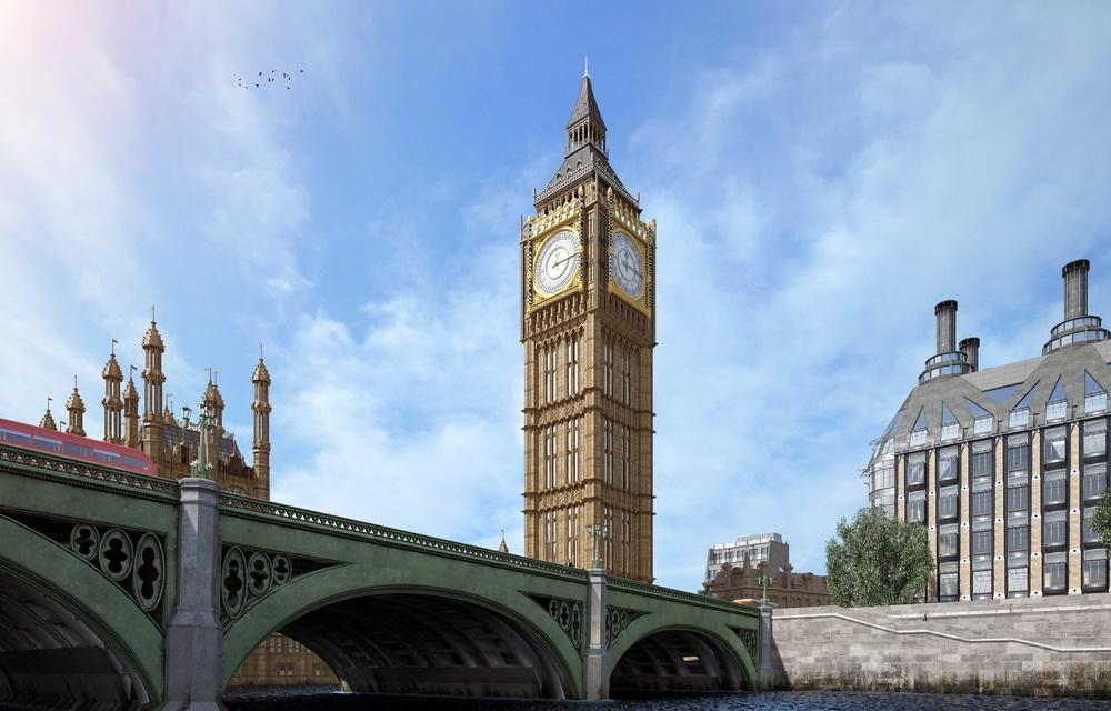 3Д моделирование моста и башни с Биг Беном