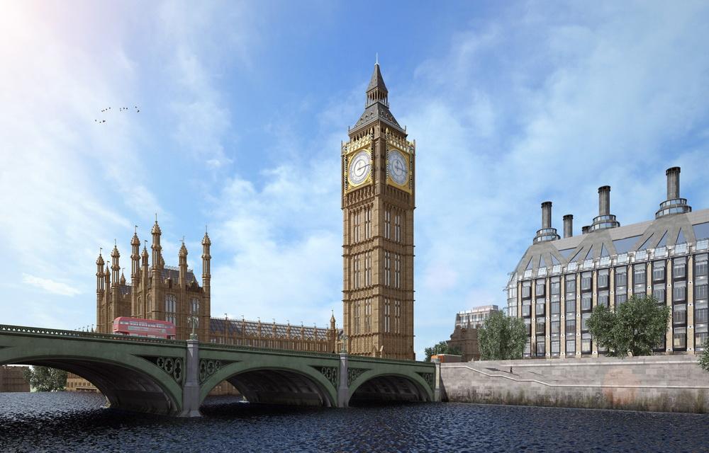 Фотореалистичная 3D визуализация часовой башни Вестминстерского дворца