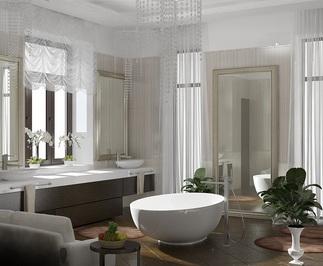 визуализация ванной комнаты в особняке