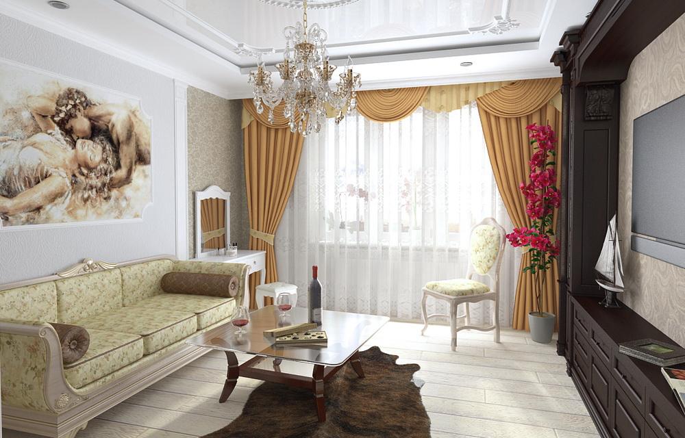3d визуализация интерьера однокомнатной квартиры