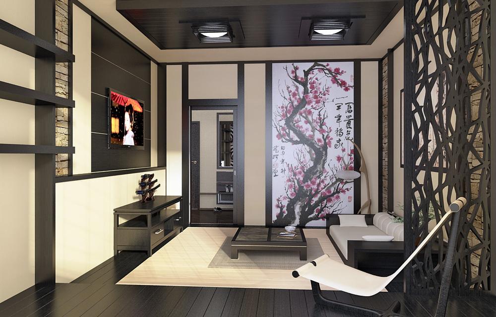 3d визуализация интерьера в японском стиле