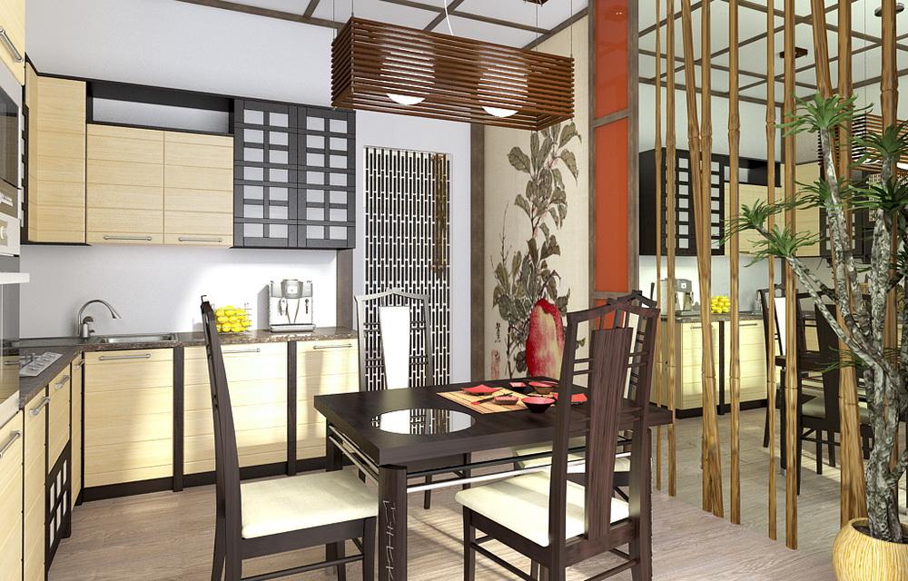 3d визуализация кухни в японском стиле