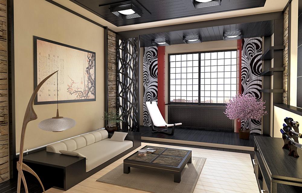 визуализация интерьера в японском стиле
