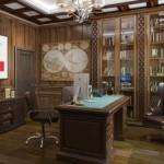 3d визуализация интерьера кабинета