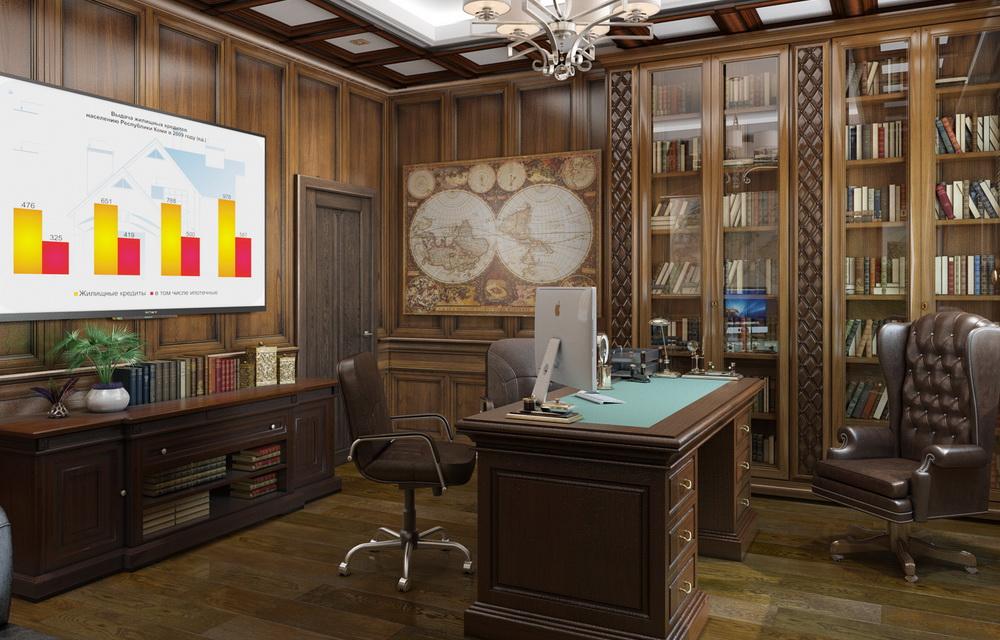 3d визуализация интерьера кабинета руководителя