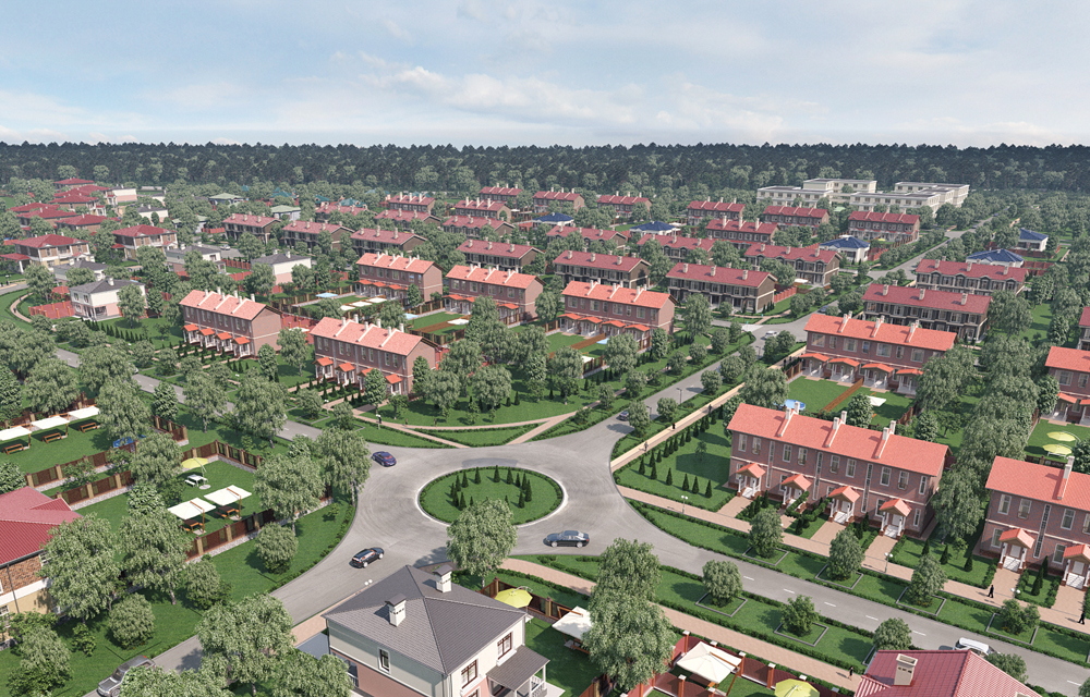 3d визуализация коттеджного поселка