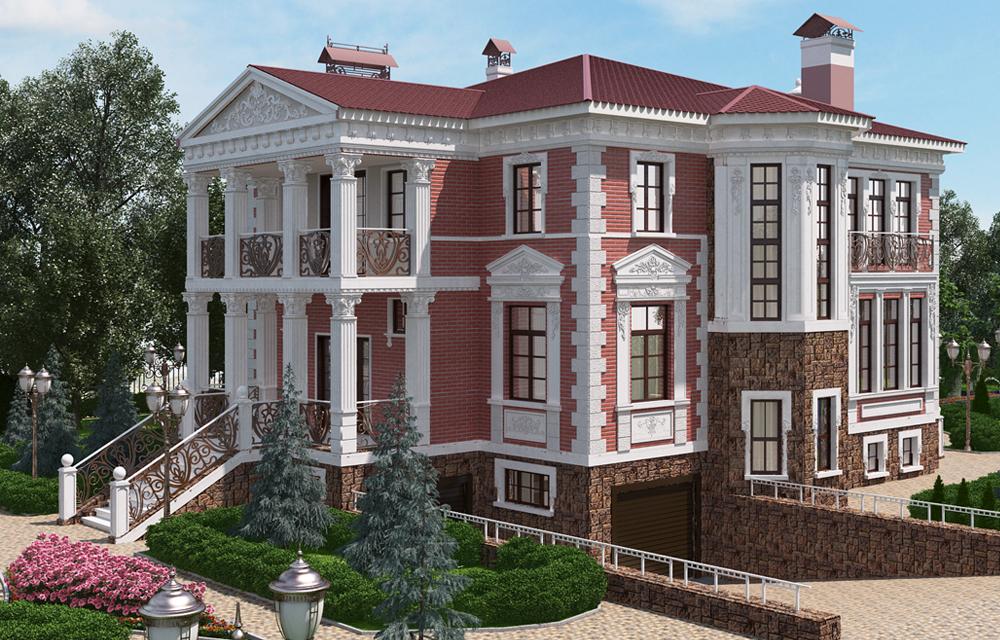 3d визуализация дома и ландшафта