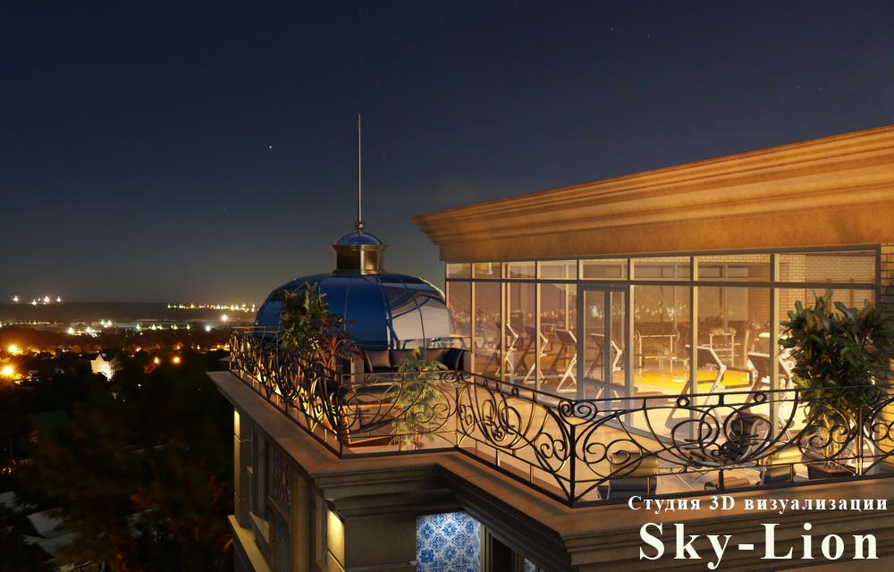 Ночная визуализация здания