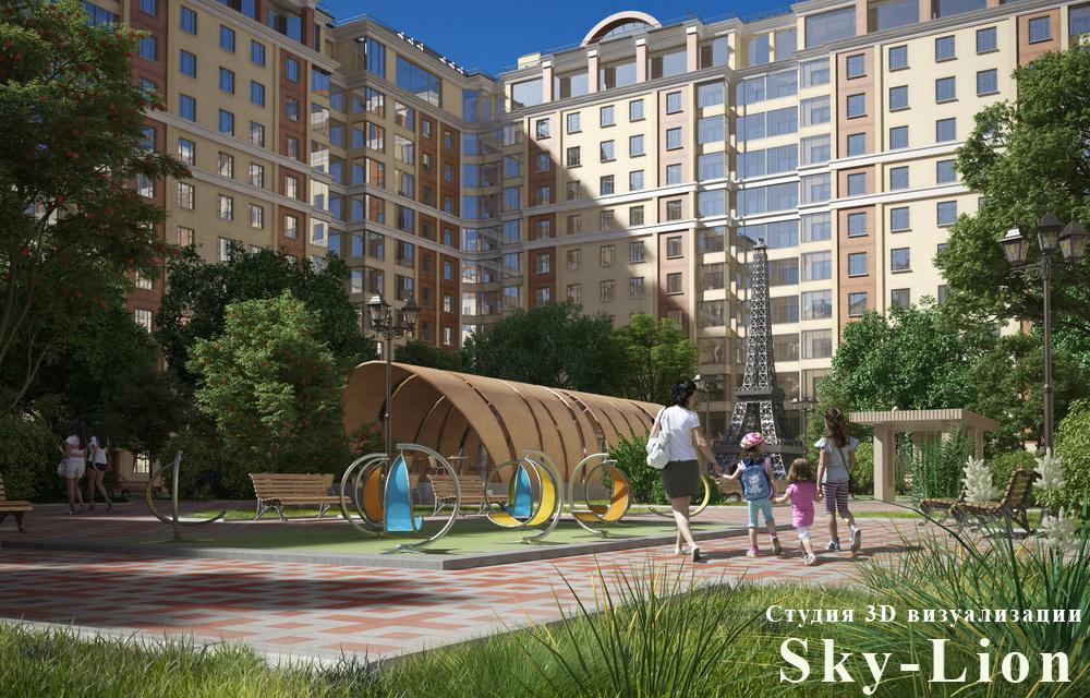 визуализация жилого микрорайона