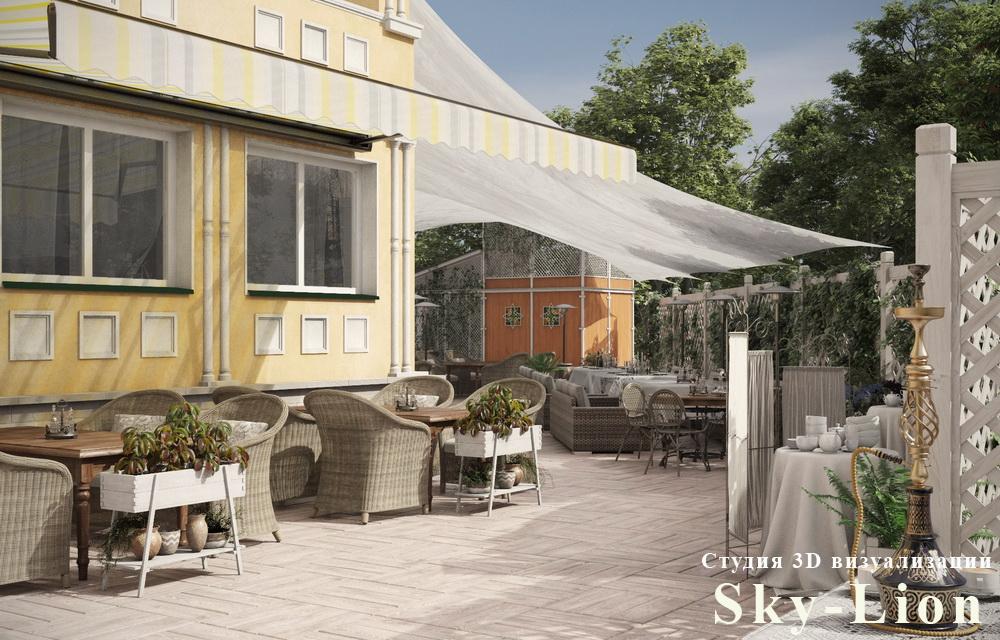 фотореалистичная визуализация летнего кафе