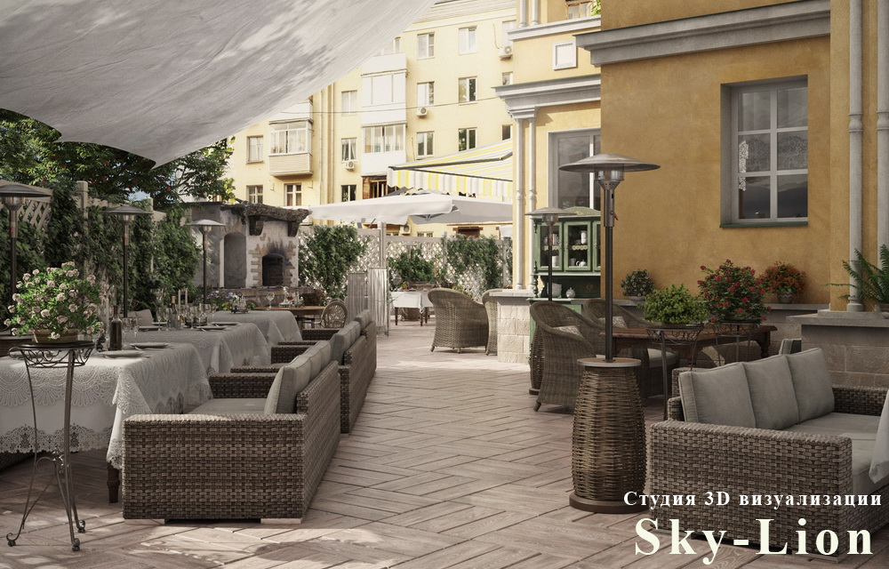 фотореалистичная визуализация кафе